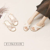 Sandals 35,36,37,38,39 Superfine fiber Other / other Barefoot Flat bottom Flat heel (1cm or less) Summer 2020 Flat buckle Korean version Solid color Adhesive shoes Youth (18-40 years old) rubber daily Back space Low Gang Hollow Microfiber skin Microfiber skin Roman shoes Shaving