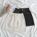 skirt Spring of 2019 S,M,L Off white, black Short skirt Versatile Natural waist A-line skirt Type A 18-24 years old 31% (inclusive) - 50% (inclusive)
