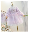 Dress Blue, lavender, pink female Urban e school 110cm,120cm,130cm,140cm,150cm Other 100% spring and autumn princess Long sleeves Solid color nylon Cake skirt Class B Four, five, six, seven, eight, nine, ten Chinese Mainland