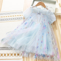 Dress blue female Other / other 110cm,120cm,130cm,140cm,150cm Other 100% summer princess Short sleeve Solid color cotton Splicing style 2115 mesh skirt Class B Seven, eight, three, six, two, four, nine Chinese Mainland
