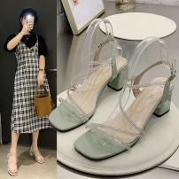 Sandals 35 36 37 38 39 34 Light green light green upgrade off white off white upgrade PU Moon and silk Barefoot Square heel Middle heel (3-5cm) Summer 2021 Flat buckle Korean version Solid color Adhesive shoes Youth (18-40 years old) rubber daily Rear trip strap Water drill platform Low Gang PU cloth