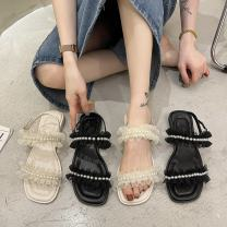Sandals 35 36 37 38 39 Black off white off white upgrade black upgrade PU Moon and silk Barefoot Square heel Flat heel (1cm or less) Summer 2021 Flat buckle solar system Solid color Adhesive shoes Youth (18-40 years old) rubber daily Rear trip strap Roman style pearl Low Gang Hollow PU PU Shaving