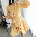 Dress Spring 2020 Yellow, black, haze green, orange, pink S,M,L Middle-skirt singleton  Long sleeves commute V-neck High waist Solid color other Irregular skirt other Others 25-29 years old Type A Retro 31% (inclusive) - 50% (inclusive) Poplin polyester fiber