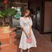 Dress Summer 2021 White, green S,M,L,XL longuette singleton  three quarter sleeve commute V-neck High waist Solid color Socket A-line skirt bishop sleeve 25-29 years old Type A Korean version Button WZJJW5104 81% (inclusive) - 90% (inclusive) Chiffon polyester fiber