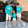 Parent child fashion Lake blue A family of three Women and men Bodi cooe summer Korean version routine Summer 2020 They were 2 years old, 3 years old, 4 years old, 5 years old, 6 years old, 7 years old and 8 years old