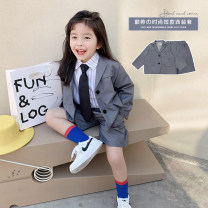 suit Peach cream grey 90cm,100cm,110cm,120cm,130cm,140cm neutral spring and autumn Korean version Long sleeve + pants 2 pieces routine There are models in the real shooting Single breasted nothing Solid color other Giving presents at school Class A Seven, eight, three, six, two, five, four