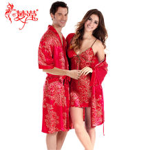 Nightgown / bathrobe Meng Ying male 160(M)165(L)170(XL)175(XXL) gules Thin money luxurious Polyester (polyester) summer More than 95% Medium length (knee to Mid Calf) silk Plants and flowers middle age six thousand and seventy-four printing 200g and below Summer 2017 Pure e-commerce (online only)