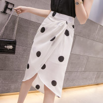 skirt Summer 2021 S,M,L,XL White, black, custom made from 500 pieces Mid length dress commute High waist A-line skirt Dot Type A 18-24 years old T Chiffon polyester fiber zipper Korean version