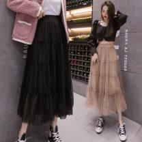 skirt Spring 2021 Average size Cream white, camel color, black, custom made from 500 pieces Mid length dress Versatile High waist Fluffy skirt Dot Type A 18-24 years old Y Lace