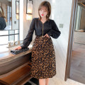 Fashion suit Autumn 2020 M,L,XL,2XL,3XL Black + Leopard Print miuco T1612S0688