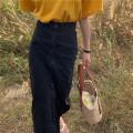 skirt Spring 2020 S,M,L Blue, black Mid length dress commute High waist A-line skirt Solid color Type H 30% and below Denim cotton Korean version