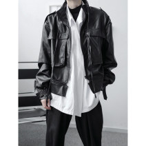 Jacket Other / other Youth fashion black S,M,L,XL routine standard Other leisure Four seasons Polyethylene terephthalate (polyester) 100% Long sleeves Wear out stand collar tide youth short Zipper placket 2020 Cloth hem No process Closing sleeve Solid color PU leather Zipper decoration More than 95%
