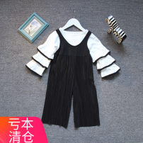 suit Other / other Black and white two piece set 90cm,100cm,110cm,120cm,130cm female spring and autumn Korean version Long sleeve + pants 2 pieces routine No model Socket nothing Solid color cotton children Expression of love g1026 Cotton 90% other 10% Three, four, five, six, seven, eight, nine, ten