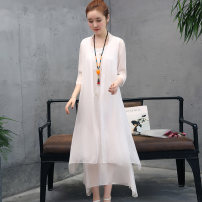 Dress Summer 2021 White, gray, red, dark green, violet, pink S,M,L,XL,2XL,3XL longuette Two piece set three quarter sleeve commute Crew neck middle-waisted Solid color Socket Irregular skirt routine Others 25-29 years old Type H Retro Embroidery D4964QDE06HYS 81% (inclusive) - 90% (inclusive) Chiffon