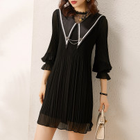 Dress Spring 2021 Black apricot S/155 M/160 L/165 XL/170 Mid length dress singleton  Long sleeves street Crew neck middle-waisted Solid color Socket A-line skirt pagoda sleeve Others 30-34 years old Type A JMFIVE More than 95% Chiffon polyester fiber Pure e-commerce (online only) Europe and America