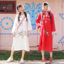 Dress Autumn of 2019 S,M,L Mid length dress singleton  Long sleeves Sweet square neck Loose waist Broken flowers Socket other routine 18-24 years old Type H Chestnut / chestnut Embroidery, lace up More than 95% other cotton Mori