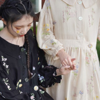 Dress Summer 2020 Nocturnal fragrance, warm soft sand S,M,L Mid length dress Long sleeves commute Doll Collar High waist other A-line skirt routine 18-24 years old Type H Chestnut / chestnut Simplicity Embroidery, pockets, buttons 71% (inclusive) - 80% (inclusive) polyester fiber