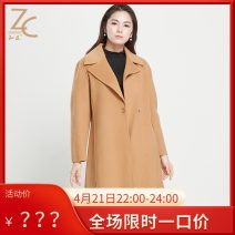 woolen coat Winter 2017 S,M,L,XL,2XL Beige wool 95% and above Medium length Long sleeves commute A button routine tailored collar Solid color Ol style Zhichen 30-34 years old Pocket, lace up