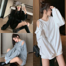 Women's large Autumn 2020 Gray, white, black M suggests 100-110kg, l 110-120kg, XL 120-130kg, 2XL 130-145kg, 3XL 145-160kg, 4XL 160-175kg Sweater / sweater singleton  commute easy thickening Socket Long sleeves Solid color Korean version Medium length bishop sleeve Other / other 18-24 years old