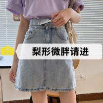 skirt Summer 2021 S,M,L,XL Dark blue, light blue Short skirt commute High waist Denim skirt Solid color Type A 18-24 years old 71% (inclusive) - 80% (inclusive) Denim cotton Pockets, rags, buttons, zippers Korean version