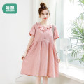 Dress Joyncleon / Jingqi Pink light green M L XL XXL Korean version Short sleeve Medium length summer Lapel Solid color Pure cotton (95% and above) Jly11648