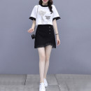 Dress Summer 2021 black S M L XL 2XL Short skirt Two piece set Short sleeve commute Crew neck Irregular skirt routine Others 25-29 years old Dolanzi Korean version 330#5866 More than 95% other Other 100% Pure e-commerce (online only)