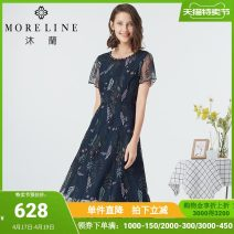 Dress Summer 2020 Orchid leaves 36/S 38/M 40/L 42/XL 44/XXL 46/XXXL 48/XXXXL Mid length dress singleton  Short sleeve commute Crew neck middle-waisted Decor Socket A-line skirt routine Others 40-49 years old MORELINE Ol style Embroidered Beaded Lace More than 95% Lace polyester fiber Polyester 100%