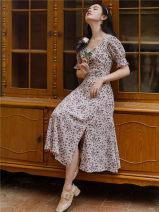 Dress Summer 2020 Broken flowers S,M,L Mid length dress singleton  Short sleeve commute V-neck High waist Retro
