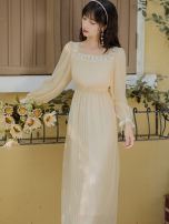 Dress Spring 2021 Picture color S,M,L longuette Long sleeves commute square neck High waist Solid color Big swing routine Type A lady Lace