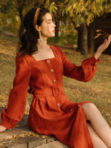 Dress Winter 2012 Black, orange S,M,L Mid length dress singleton  Long sleeves commute square neck Solid color puff sleeve Type A Retro Button