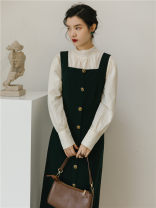 Dress Spring 2021 S,M,L Mid length dress Two piece set Long sleeves commute Retro