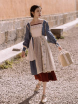 Dress Autumn 2020 Picture color S,M,L Mid length dress singleton  Long sleeves commute square neck High waist Solid color other Big swing bishop sleeve Others Type A Retro Fungus, splicing