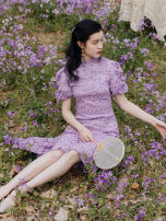 Dress Summer 2020 violet S,M,L Mid length dress singleton  Short sleeve commute stand collar High waist Solid color other puff sleeve Others Retro Embroidery