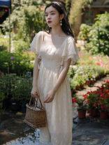 Dress Summer 2020 Apricot S,M,L Mid length dress singleton  Short sleeve commute square neck High waist Solid color pagoda sleeve Type A Retro Frenulum
