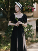 Dress Summer 2021 black S,M,L Mid length dress singleton  Short sleeve commute square neck High waist Solid color puff sleeve Type A Other / other Retro fungus