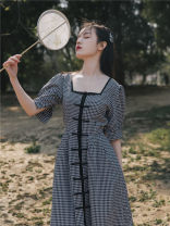 Dress Summer 2020 Black and white check S,M,L Mid length dress singleton  Short sleeve commute square neck High waist lattice other other Others Type A Retro