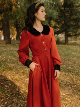 Dress Winter 2020 Orange S,M,L Mid length dress singleton  Long sleeves commute Doll Collar High waist Solid color other Type A Retro