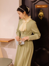Dress Spring 2021 Elegant green S,M,L Mid length dress singleton  Long sleeves commute stand collar High waist Solid color routine Type A Retro Button, lace