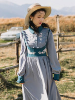 Dress Autumn 2020 blue S,M,L Mid length dress singleton  Long sleeves commute Polo collar High waist Solid color A-line skirt Retro Embroidery, Auricularia auricula