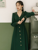 Dress Spring 2021 green S,M,L Mid length dress singleton  Long sleeves commute Admiral High waist Solid color Single breasted Big swing other Others Type A Other / other Retro Button