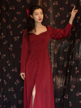 Dress Autumn 2020 Red, white S,M,L Mid length dress singleton  Long sleeves commute square neck High waist Solid color A-line skirt Retro Button