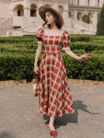 Dress Summer 2020 lattice S,M,L Mid length dress singleton  Short sleeve commute square neck High waist lattice puff sleeve Others Type A Retro