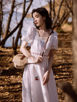 Dress Summer 2021 white S,M,L Mid length dress singleton  Short sleeve commute square neck High waist Solid color Others Type A Retro Stitching, lace