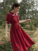 Dress Summer 2021 claret S,M,L Mid length dress singleton  Short sleeve commute High waist other routine Others Type A Retro Stitching, buttons, lace Chiffon