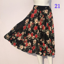 skirt Summer 2020 One size fits all Black, 1, 2, 3, 4, 5, 6, 7, 8, 9, 10, 11, 12, 13, 14, 15, 16, 17, 18, 19, 20, 21 Middle-skirt fresh High waist Pleated skirt Broken flowers Type A 40-49 years old 71% (inclusive) - 80% (inclusive) brocade Other / other Cellulose acetate