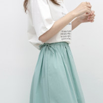 skirt Spring 2021 Average size Black, white, spring green Mid length dress commute High waist A-line skirt Solid color Type A nn64265 51% (inclusive) - 70% (inclusive) other Good morning diary Frenulum Simplicity