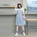 Women's large Summer 2020 Blue white sleeves 3XL suggests 135-155 kg, 4XL 155-170 kg, 5XL 170-190 kg, 6xl 190-220 kg Dress Fake two pieces street Straight cylinder moderate Socket Short sleeve Solid color Crew neck Medium length Polyester, cotton Three dimensional cutting routine fungus Medium length