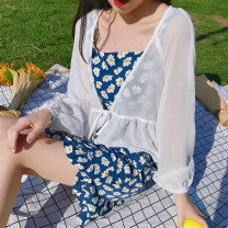 Lace / Chiffon Summer 2020 white S, M Long sleeves Versatile Cardigan singleton  easy have cash less than that is registered in the accounts other Solid color puff sleeve 18-24 years old 71% (inclusive) - 80% (inclusive)