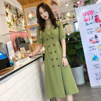 Dress Summer 2021 S,M,L,XL,2XL longuette singleton  Short sleeve commute tailored collar High waist Solid color double-breasted Ruffle Skirt other Others 25-29 years old Type X Cambodian Sheng Korean version 91% (inclusive) - 95% (inclusive) other polyester fiber