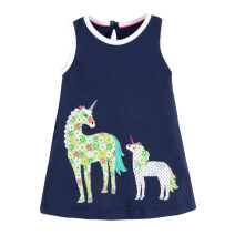 Dress navy blue female Other / other The height of 2T is about 85CM, 3T is about 90cm, 4T is about 100cm, 5T is about 110cm, 6T is about 120cm, 7T is about 125cm Cotton 95% other 5% summer Europe and America Short sleeve Solid color cotton Pleats 20 skirts